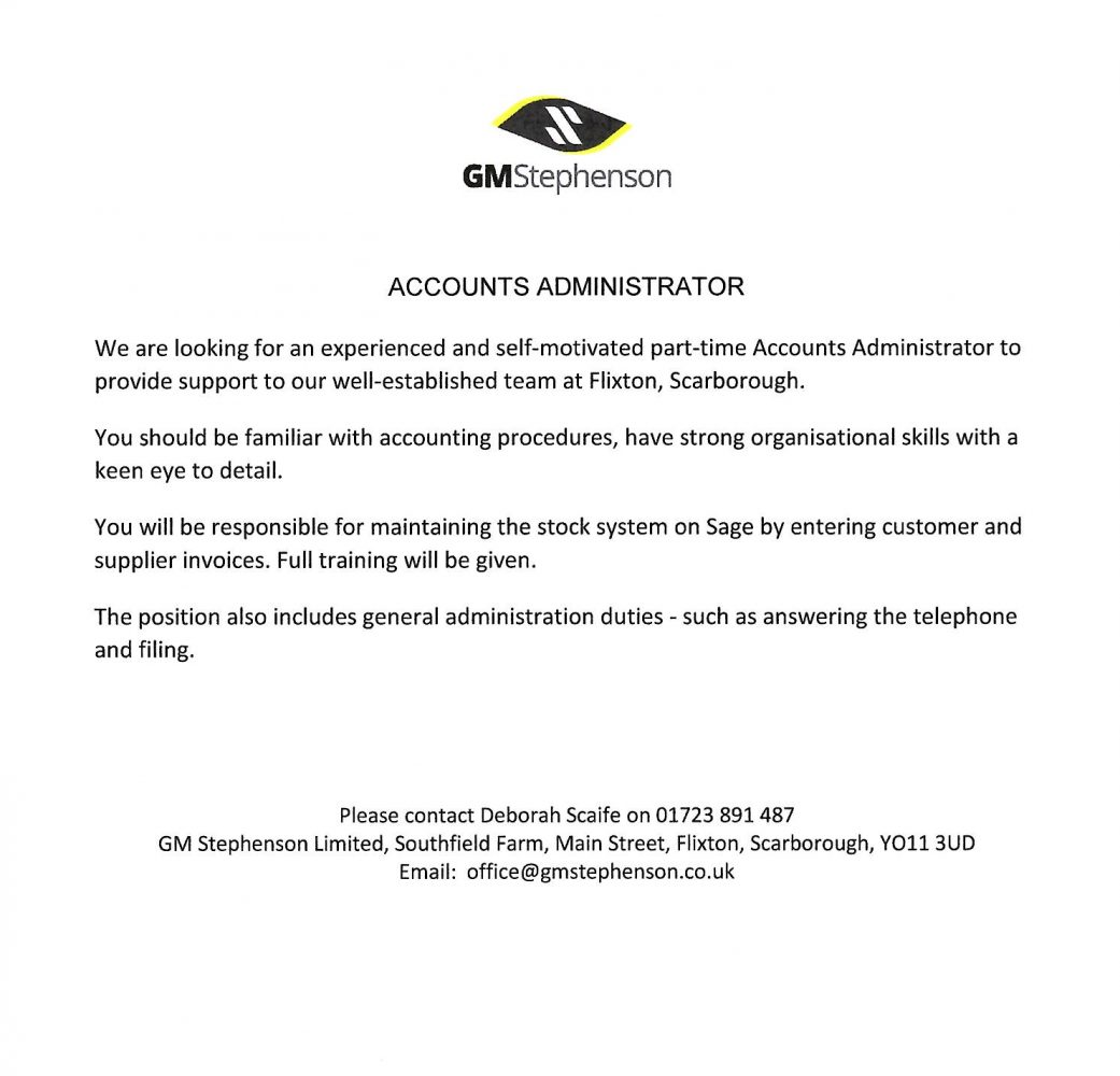 Job Vacancy Accounts Administrator G M Stephenson Ltd